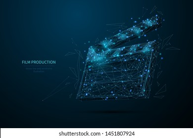 Film production low poly wireframe banner template. 3D clapperboard, filmmaking, movie director equipment with connected dots. Polygonal open clapper board, cinematography mesh art illustration