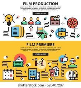 Film production, film premiere, cinema flat line design illustration concepts. Thin line icons set, graphic design for web sites, web banners, printed materials, infographics. Flat vector illustration