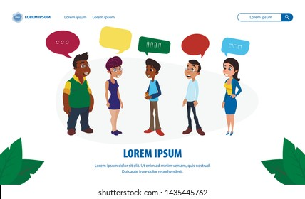 Film Production Studio Landing Page. Casting Call. Flat Cartoon Divers People Character Talking Group. Multiracial Actor and Actress Chatting Receive Answer about Audition Results. Vector Illustration