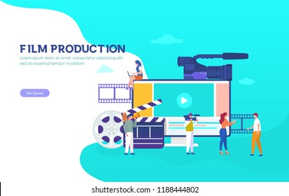 Film Production vector illustration concept, people in the studio making a film, can use for, landing page, template, ui, web, mobile app, poster, banner, flyer, background