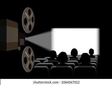 Film projector, film screening in the cinema.