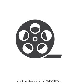 Film reel black filled solid icon.