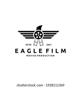 Film Reel and Eagle Bird for Movie Production Logo Design