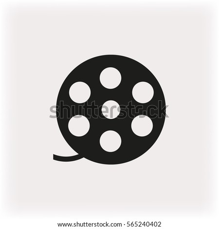 Film Reel Icon Black Vector Illustration Stock Vector Royalty Free
