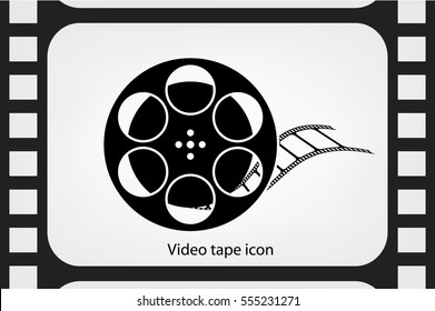 film reel icon vector EPS 10, abstract sign video tape flat design,  illustration modern isolated badge for website or app.