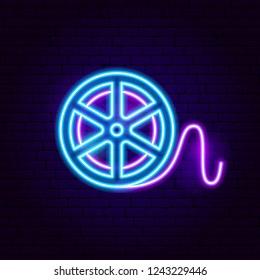 Film Reel Neon Sign. Vector Illustration of Movie Promotion.