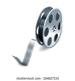 Film reel over white background. Vector illustration