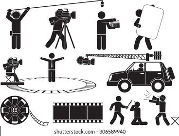 Film Reel Silhouette icon set