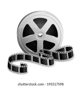 Film reel and twisted cinema tape isolated on white background, illustration.