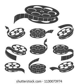 Film reel. Vector vintage movie filmstrip roll icons, old documentary cinema video symbols isolated on white background