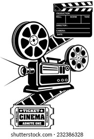 Film Reels and Clapper board  cinema ticket