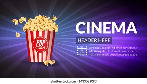 Film retro cinema or movie concept template. Retro cinema banner or poster background illustration with popcorn.