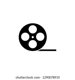Film roll icon vector or video camera tape reel flat sign symbols logo illustration isolated on white background black color.Concepts objects design for cinema and movie theater.