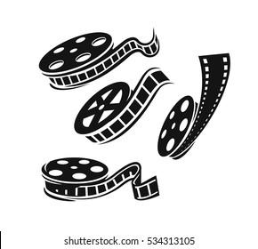 Film roll logo vector black cinema and movie