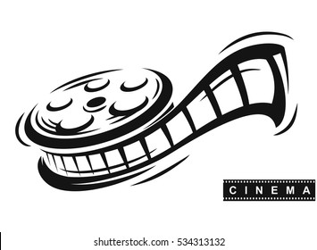 Film roll logo vector black cinema and movie