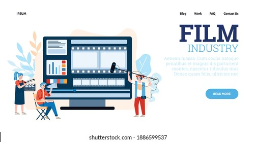 Film shooting crew characters in website template, flat cartoon vector illustration. Landing page design for film industry and cinema production company.