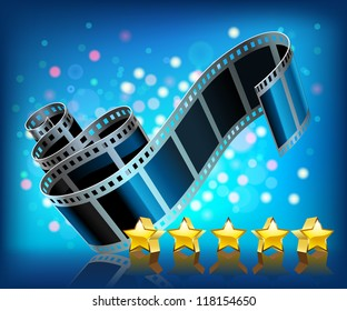 Film and stars on blue background. Vector.