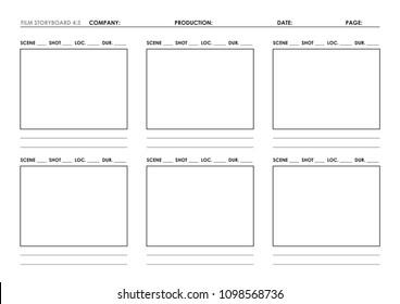 Film storyboard template 4:3 ratio