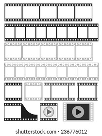 film strip, 35 mm negative strip, movie frame, video tape, video player icon - vector illustration fully editable, you can change form and color