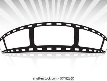 Film strip background  banner  illustration with rays