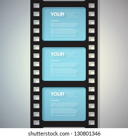 Film strip design text box vector