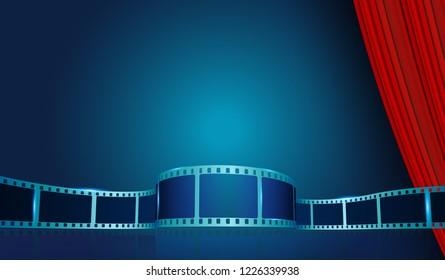 Film strip frame by Red Curtain. Cinema festival poster, banner or flyer background. Creative vector illustration of old film strip frame.Art design reel cinema filmstrip template.