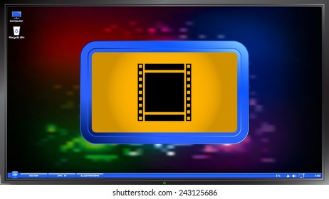 Film strip icon on the screen monitor. Made vector illustration
