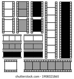 film strip icon set vector sign symbol