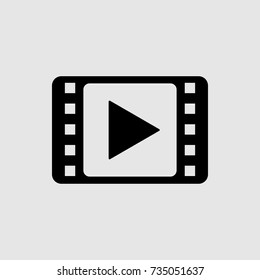 film strip icon, video vector icon, film strip with play icon