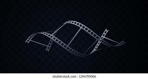 Film strip isolated on black background. Vector 3d illustration. DNA shape filmstrip. Filmmaking concept. Cinema or animation sign