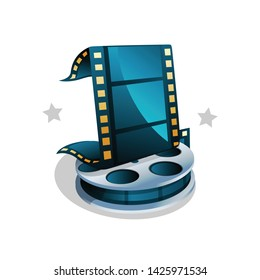 Film Strip and Movie Reel Icon. Isolated Vector Icon. Cinema Movies.