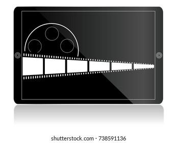 film strip on tablet computer