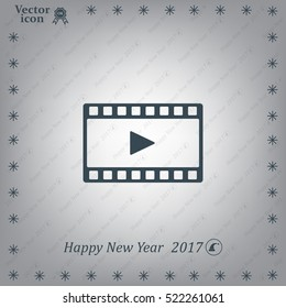 film strip with play - black vector icon