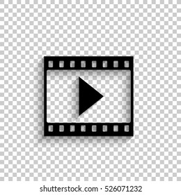 film strip with play - black vector  icon with shadow