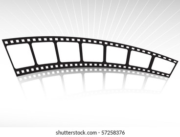Film strip reflected  under background lights