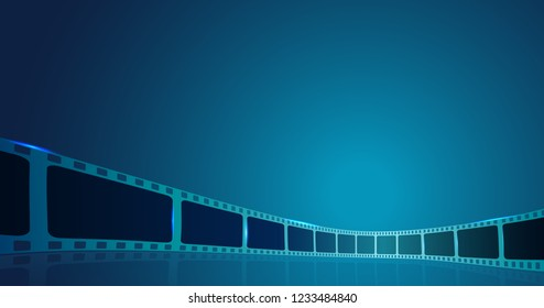 Film strip roll frame cinema on the blue background. Vector cinema festival poster, banner or flyer background. Art design reel cinema filmstrip template.Movie time and entertainment concept. EPS 10