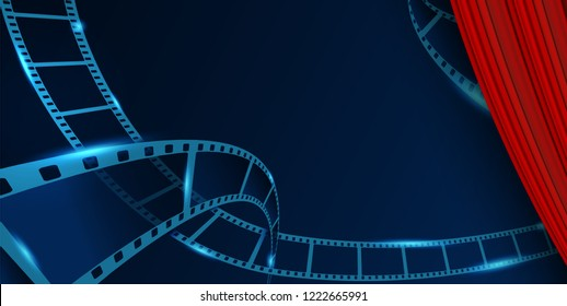 Film strip roll vector cinema background behind Red Curtain. Creative vector illustration of old film strip frame. Art design reel cinema filmstrip template. Movie time and entertainment concept.