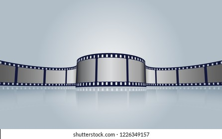 Film strip roll vector cinema background. Creative old film strip frame with place for text. Vector cinema festival poster, banner or flyer background. Art design reel cinema filmstrip template.EPS 10