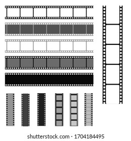 Film strip templates. Cinema monochrome border celluloid tape, media empty image photo video vintage frame movie reel vector set