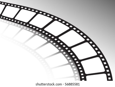 Film strip twisted and reflected   vector background illustration