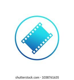 film strip vector icon, logo on white