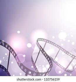 Film stripe or film reel on shiny purple movie background. EPS 10
