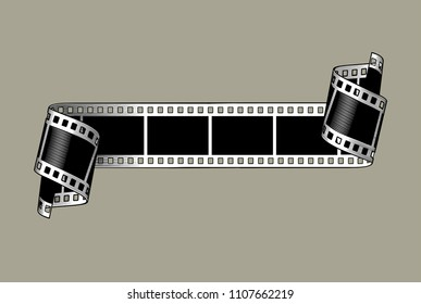 A film stripe with twisted ends. Vintage colorized engraving stylized drawing. Vector illustration