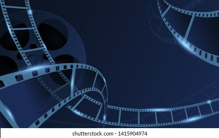 Film strips with cinema rell isolated on blue background. Old cinema banner with stripe roll. 3d flyer or poster festival. Movie time background template. Vector illustration.