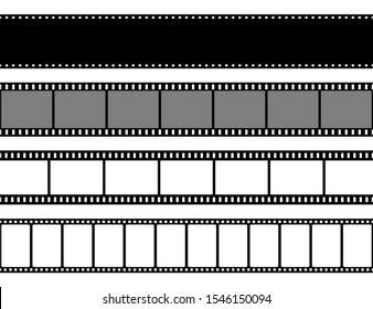 Film strips collection. Old retro cinema strip. Vector photo frame.