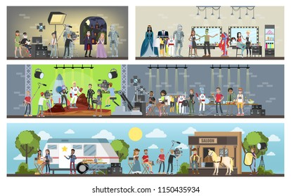 Film studio building interior. Shooting historical and fantastic movies using camera, lights, microphones and other equipment. Making film concept. Vector flat illustration