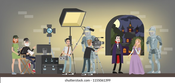 Film studio building interior. Shooting fantastic horror movie using camera, lights, microphones and other equipment. Making film concept. Vampire biting princess scene. Vector flat illustration