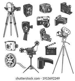 Film studio equipment, movie shooting retro vector icons, vintage photo and video camera, film reel and clapper, bobbin. Cinema, cinematography entertainment industry old camcorders on tripod set