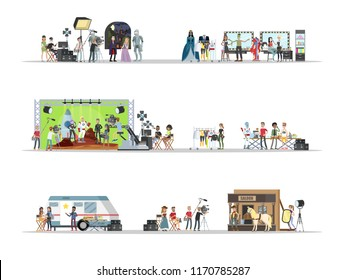 Film studio interior with actors set. Shooting historical and fantastic movies using camera, lights and microphones. Dressing room and movie set. Making film concept. Vector flat illustration