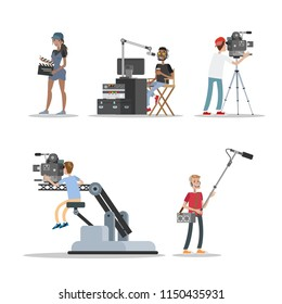 Film studio staff set. People shooting historical and fantastic movies using camera, lights, microphones and other equipment. Making film concept. Vector flat illustration